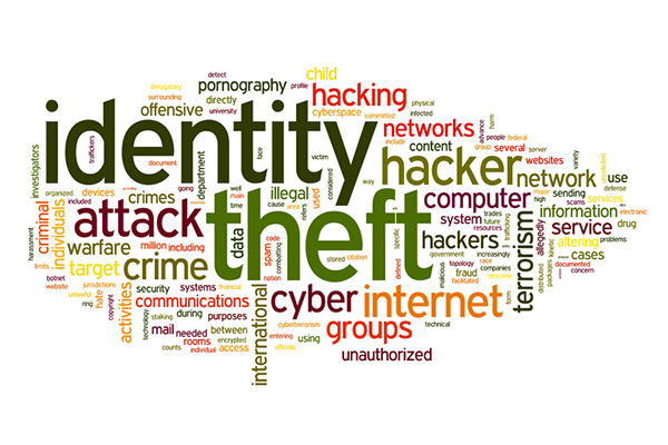 Identiry theft concept in word tag cloud isolated on white background